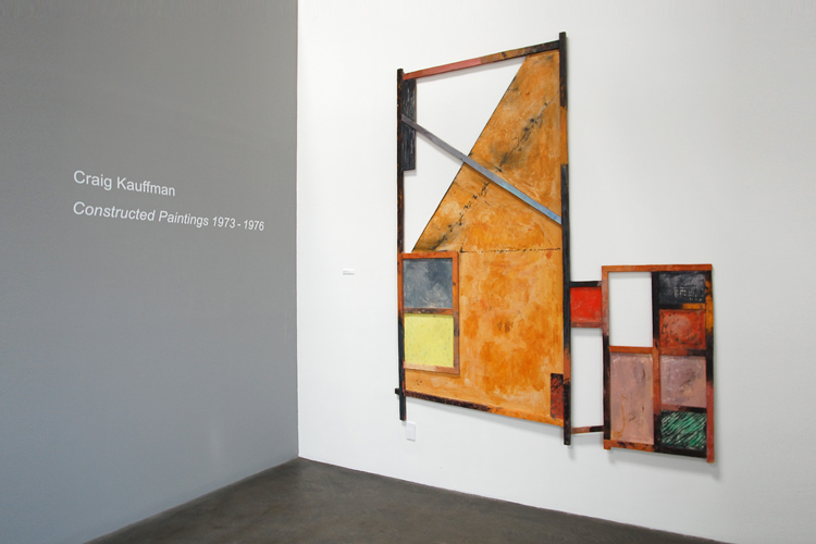 Installation view of Craig Kauffman: Constructed Paintings 2013 Exhibition at Frank Lloyd Gallery, Wooster Orange